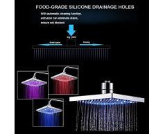 TANBURO douchette LED pommeau de douche lumineux Avec température Changement Automatique de 3-couleurs tête de douche carré aucune batterie requise, Normal Motif