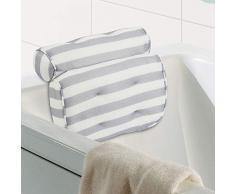 SALOVES Coussins de Bain 3D de Maille avec 6 Ventouses Antidérapant Anti-Moisissure Coussin de Bain Support pour Tête Nuque Épaules Blanc Oreiller Baignoire pour Bain Sèche Rapide 35 * 40 * 8cm