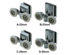 5starservices14 roulettes à Ressort pour Porte de Douche 23 mm/25 mm 4 pièces (2 Dessus + 2 Boutons) pour la Plupart des cabines de Douche, cabines de Douche et cabines à Vapeur (23 mm)