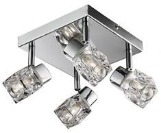 Moderne Design glaçon 4 ampoules IP44 Chromé MiniSun Plafonnier de salle de bain - 4 x 20 W G9 ampoules inclus