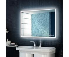 Anten® 19W Miroir LED Blanc Froid 6000K 80*60cm AC110-240 Miroir Lumineux de Salle de Bain