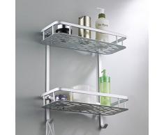 Hensych® Aluminium Douche accessoires étagère de douche salle de douche étagère panier cuisine étagère salle de stockage étagère étagère de salle de toilette pour salle de bain / cuisine / salle de bains (2 étages - Rectangulaire)