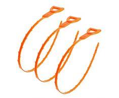 Yardwe 3pcs cheveux sabot dissipateur crochet crochet récepteur pour évier de cuisine salle de bain baignoire wc (Orange)