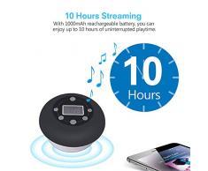 Douche Radio, IPX4 Étanche Haut-Parleur Bluetooth sans Fil avec Ventouse Micro Intégré Mains Libres Appel 12 Heures Play Time LCD pour Salle De Bains Extérieurs pour La Maison,Noir