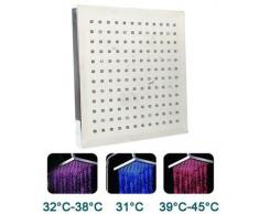 Pommeau de douche lumineux à LED indicateur de température Carré