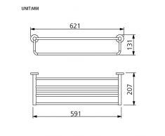 GRIFEMA IBIZA-G30124 Barre Porte Serviette et Tablette (60CM), Étagère Murale pour Salle de Bain, Laiton/Chrome
