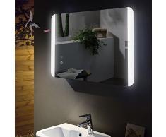 Miroir de salle de bain lumineux avec LED intégrée Antib eschlg Chauffage de miroir, pieds 60 x 80 cm, montage horizontale et verticale, Salle de Bain Miroir avec lumière en haut et en bas, classe énergétique A +