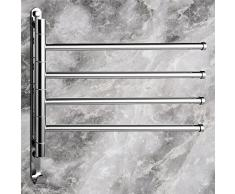 Weare Home Barre porte-serviette Pivotante 4 Barres Support Serviette Laiton Rétro Finition Chrome Fixation Murale longueur: 36CM Etagère de Salle de bain
