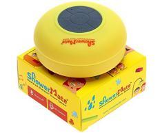 Enceinte haut-parleur sans fil Bluetooth pour la douche ShowerMate   Radio de douche étanche avec kit main libre et micro intégré   Compatible avec tout appareil Bluetooth - Jaune