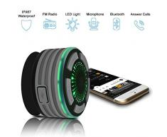 Alitoo Enceinte Bluetooth Étanche Haut-Parleur Douche,sans Fil Portable avec Radio FM,Forte Adhérence,Mains Libres pour Tous Les Périphériques Bluetooth pour Piscine Plage Cuisine Extérieure