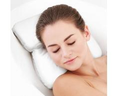 PUMPKO Spa Coussin de baignoire avec ventouses | Appuie-tête expérience bien-être | Oreiller de bain blanc | Idéal comme repose-tête pour baignoire ou jacuzzi