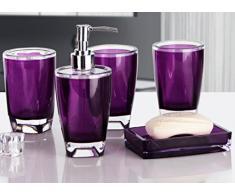 Bellabrunnen Salle de bains Essentials 5 Accessoires Set - Tumbler, savon à vaisselle, distributeur de savon, toilettes Brush & Holder Violet