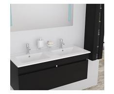 ALBAN Salle de bain complete double vasque 120 cm - Laqué noir brillant