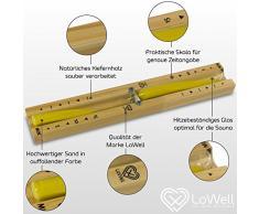 Lowell ❤ – saunauhr – Sablier pour sauna en bois de pin Naturel – Jaune Sable – La Chaleur Verre –-Timer Cabine infrarouge, horloge, minuteur, chronomètre – Sable, DE QUALITÉ gommé non – Jaune – 15 min autonomie