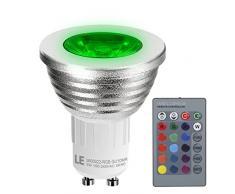 LE 3W Réglable MR16 GU10 Ampoules LED, Couleur changeante réglable, équivalente à 20W Ampoules à Incandescence, 30 ° Angle de Faisceau, RVB, 16 Choix de Couleurs, TéléCommande de 24 bouton à distance Incluse, rail d'éclairage,