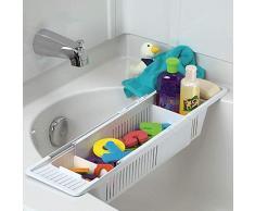 HomDSim☛ Plateau de bain en plastique, support de baignoire télescopique antidérapant réglable multifonction Support de baignoire pour salle de bain Blanc 86 x 14 x 10 cm