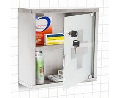 Relaxdays Armoire à Pharmacie EMERGENCY Inox Porte en Verre Rangement H x l x P: 30 x 30 12 cm Remèdes Moderne Salle bain, gris