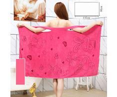 doxungo portable Serviette de douche Serviette de plage souple absorbant serviette de bain avec de jolis bretelles de soutien-gorge Bain de Vapeur, roserot, 78 cm * 135 cm