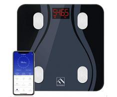 Pèse-personne Impédancemètre, FITINDEX Balance Connecté Bluetooth Pesse Personne Numériques Haute Précision avec Appli, 13 Données Corporelles Masse Ggraisseuse Musculaire IMC, Noir