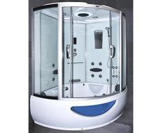 Home Deluxe Exclusive Temple de douche, avec jacuzzi et Sauna Vapeur (Blanc)