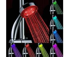 Gugutogo LED Lumineux Douche Robinet De Douche Robinet À Main Automatique Hydroélectrique Coloré Lumière Salle De Bains Accessoires (Couleur: Argent)