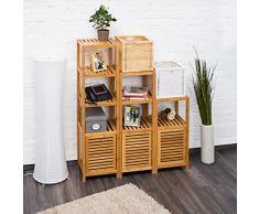 Relaxdays 10019205 Étagère salle de bain cuisine Porte refermable bois de bambou 5 étages Plateaux Meuble rangement HxlxP 140 x 36,5 x 33 cm, nature