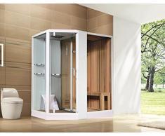 Cabine de douche | douche vapeur | Sauna 180 x 130 cm, linkseinbau