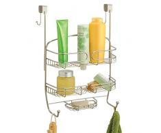 mDesign étagère de douche à suspendre à la porte de la douche - serviteur de douche pratique sans perçage - valet de douche pour tout accessoire de douche - en métal - satiné