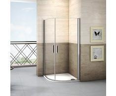 Cabine de douche 90x90x195cm 1/4 de rond en verre anticalcaire