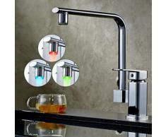 Auralum Guirlande lumineuse LED orientable à 360 ° Robinet de cuisine chromé mitigeur robinet avec bec de douche douchette 3 Changement de couleur, argent