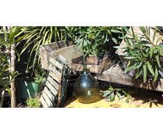 Caisses dans le jardin – Chance Artiste de Villa Motif exclusif, 120 x 60 cm, décoration murale Impression sur verre acrylique comme XXL. Jardin, boîte, chaise, chaise pliante, baignoire, bouteille, verre, Cactus, Cactus,