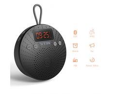 VTIN Enceinte Bluetooth sans fil avec Radio FM et Réveil Haut-Parleur Portable d'extérieur Douche Plage Piscine pour iPhone 7 7 Plus 6S 6S Plus SE, iPad, Galaxy S6 Edge S6 S5, Nexus, HTC, Blackberry, Google, Wiko, XiaoMi, HuaWei, ZTE, etc