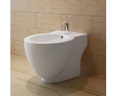 Bidet rond à poser en céramique sanitaire blanc 58 x 40 x 40 cm