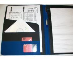 BDS Conférencier Soft Touch Calculatrice Flip 8D sur la languette de fermeture Bloc-notes Porte-crayon Porte carte de visite A4 Bleu (Import Royaume Uni)