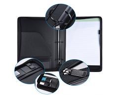 Aibecy Porte-documents A4 PU cuir Bloc-notes avec archiver et fermeture éclair avec de nombreux compartiments et fente multifonction Business Porte-documents conférencier Portefeuille