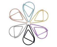 SUPVOX 100 trombones colorisés avec gouttes deau simples trombones en acier inoxydable de première qualité pour fournitures de bureau et scolaires 2 6 * 1 5 cm