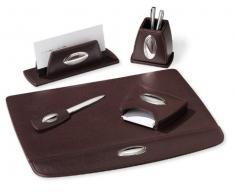 Set de bureau complet, cuir marron 5pz