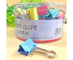 bluelans® Trombones, 60 Assorties Organiseur de bureau Mini Pinces à clips en métal 15 mm 10pcs 48pcs