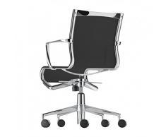 443 Rollingframe+ low Tilt - Chaise pivotante noir/châssis chrome/polyester/avec dossier bas/réglable/avec mécanisme d'inclinaison