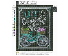 PanDaDa 25×30 Diamond Painting Dessin Tableau Noir DIY Peinture en Diamant Complet Kits Broderie au Point de Croix Décoration Murale de Maison Bureau Hôtel Restaurant Bar - Life is a Beautiful Life