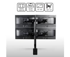 """FLEXIMOUNTS D1Q Support de Moniteur de Bureau à Mouvement Complet à Quatre Bras Compatible avec Un Écran 10""""à 27""""/25-69cm, Capacité de Charge 10kg par Bras"""