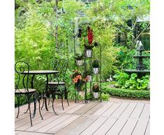 Relaxdays Étagère Fleurs métal 6 Niveaux, Support Pot de Fleurs, Escalier pour Plantes décoration, H: 140 cm, Noir