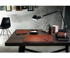 ASCANIO 4: Parure de bureau 4 pièces en cuir, couleur Brun, set de bureau complet, bureau secrétaire, base Antidèrapant, Made in Italy by Limac Design®.