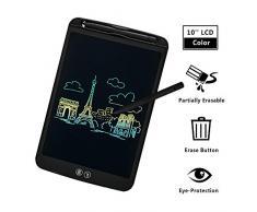 IDEASY Upgrade Tablette décriture LCD 10 Pouces à Effacement Partiel et Complet, Fonction décran de Verrouillage, Bloc décriture LCD Kids pour lécole, la Maison et Le Bureau (Noir)