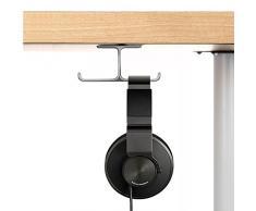 APPHOME Support pour casque en Aluminium Complet Stand Casque Ecouteurs sous le Bureau Porte-casque Adhésif 3M (Gris)