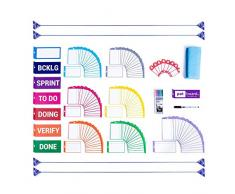 PATboard Set Complet d'Aimants Tableau Magnétique - Pour Organiser Tableau Blanc Scrum ou Kanban - Accessoire Bureau