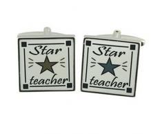 Boutons de manchette conférencier enseignant Cufflinks Star Teacher ~ Cufflinks Select Pouch cadeau