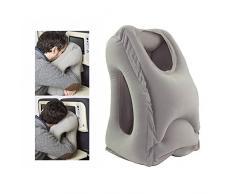 Oreiller voyage gonflable coussin de voyage ergonomique pour l'avion avec le corps complet et le support de tête Oreiller de bureau avec masque pour les yeux(gris)