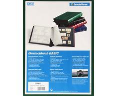 Classeur philatelique a feuilles fixes, 64 pages noires, A4, Leuchtturm, couverture verte