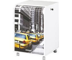 Caisson mobile à rideau - ORGA 70 - New-York - Taxis jaunes - Blanc